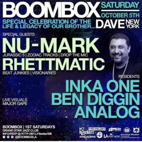 Boombox Celebrating Dave New York w/ Nu-Mark & Rhettmatic 10.5