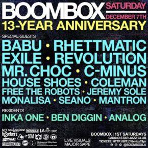 Boombox 13 Year Anniversary 12.7