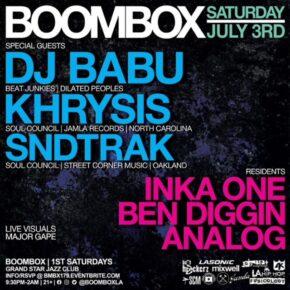 Boombox Returns w/ DJ Babu, Khrysis & Sndtrak 7.3