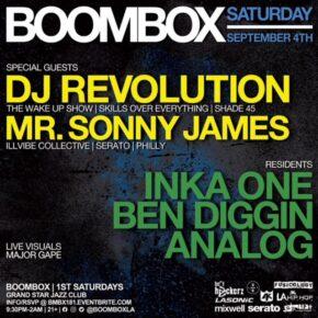 Boombox w/ DJ Revolution & Mr. Sonny James 9.4